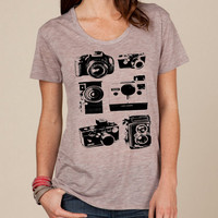 CAMERAS Photographer slouchy t shirt Alternative Apparel KIMBER tee tshirt shirt Heathered vintage style screenprint ladies scoop top
