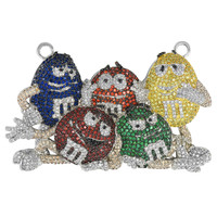 M&M Multi Stones Pendant White Finish