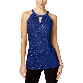 INC Womens Sequined Sleeveless Casual Top