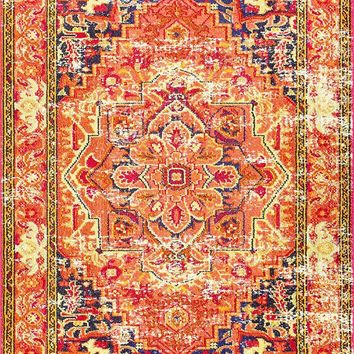 9338 Orange Medallion Oriental Area Rugs