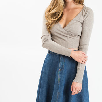 Rosalyn Taupe Crossover Sweater Top