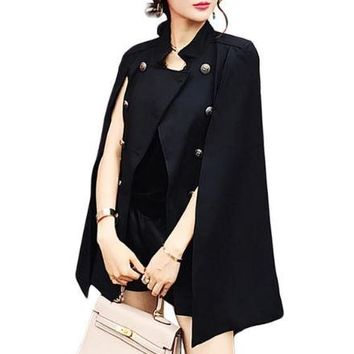 Fashion Cloak Cape Blazer Women Black Khaki Lapel Split Long Sleeve Jacket