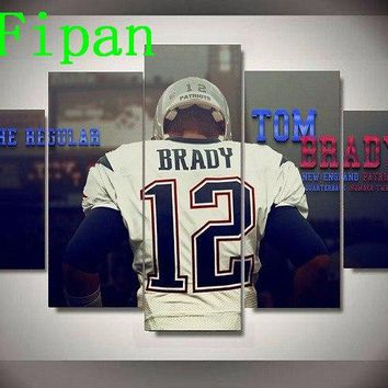 AtFipan 5P Modern Abstract Art Poster New England Patriots Footballer Tom Brady Wall Painting on Canvas Pictures For Living Room