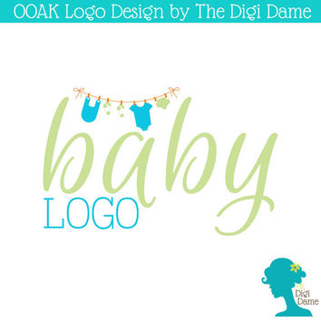 OOAK Premade Logo Design: Baby Clothing Hanging on a String in Turquoise and Olive Green