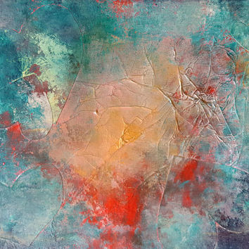 HEARTS on FIRE Mixed Media Original Abstract Modern Wall Art Painting Gold Metallic Blue Red Stretched Canvas Ready to Hang Free US Ship