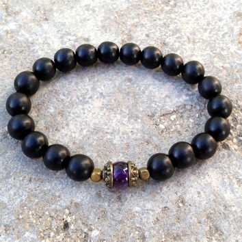 Healing, genuine amethyst gemstone and ebony mala bracelet