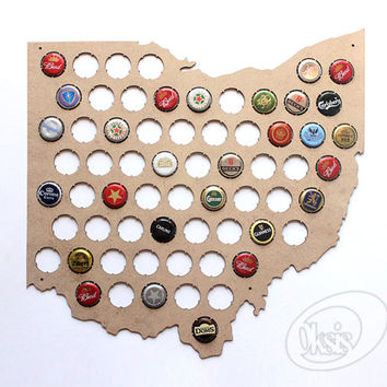 Beer Cap Map, Ohio Beer Cap Map, All States Also Available, Beer Cap Holder, Gift, wall art, Laser cut, Laser engraved, decor