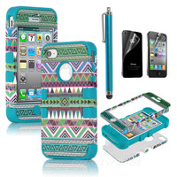 Stylus + For iPhone 4 4S 3-Piece Hybrid High Impact Case Tribal Blue Silicone