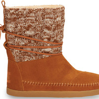 TOMS Nepal Boot Women Chestnut Cable Knit Suede
