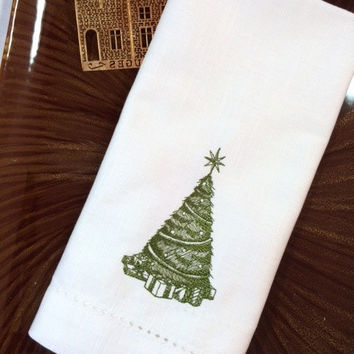 4 Toile Christmas Tree Embroidered Cloth Dinner Napkins - Custom made - cotton / poly / table / vintage christmas / old fashion christmas