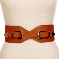 Tan/Gold Double Buckle Belt