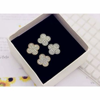 *Four-leaf Clover* 925 Sterling Silver Micro-inlay Cubic Zirconia Stud Earring
