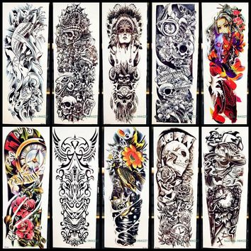 2441a140b Skull Skulls Halloween Fall Full Arm Body Art Temporary Tattoo S