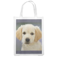 Cute White Puppy Reusable Grocery Bag