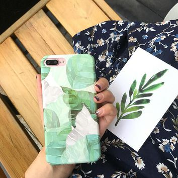 Watercolor Literature Leaf Phone Cases For iphone 8 Case Hard Plastic Matte Back Cover For iphone 6 6s 7 8 Plus Case Coque
