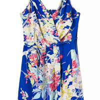Blue Spaghetti Strap Floral Wrap Mini Dress