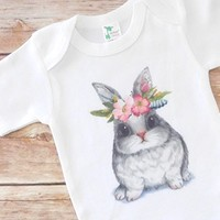 Easter Outfit for Babies - Bunny with Floral Headband - Baby Bodysuit