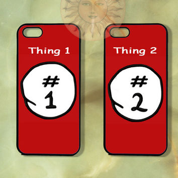 Customized Thing 1 and thing 2 Couple Case-iPhone 5, iphone 4s, iphone 4 case, Samsung GS3-Silicone Rubber or Hard Plastic Case, Phone cover