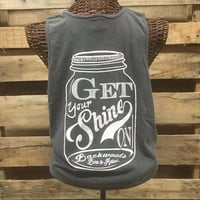 SALE Southern Chics Comfort Colors Shine On Mason Jar Gray Girlie Bright T Shirt Tank Top