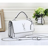 YSL Fashion New Leather Shopping Shoulder Bag Leisure Crossbody Bag Women White