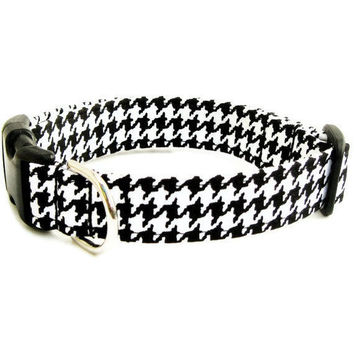 Houndstooth Dog Collar Black And White The by BigpawCollars