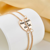 Partners In Crime Friendship Hearts Bracelets Gifts To Best Friend 14K Gold and Silver