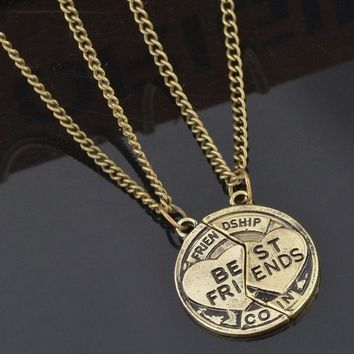 1set Bronze Silver Jewelry Necklace Pendant Friendship Best Friends (size: 2 Color: Bronze) = 1947048324