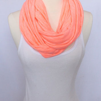 Extra Wide Jersey Knit Infinity Scarf - Coral
