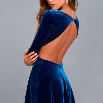 Charisma and Charm Royal Blue Velvet Backless Dress