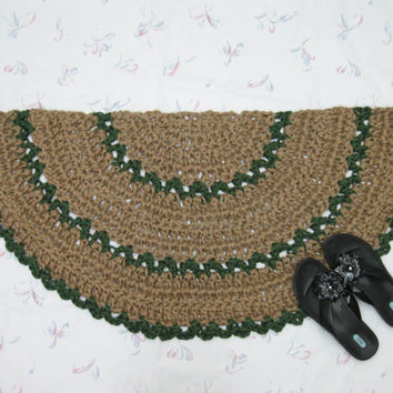 Slice Rug - Half Circle Rug - Kitchen Mat - Welcome Mat - Crochet Jute Rug - Natural Fiber Rug - Doormat - Green Throw Rug - Scatter Rug