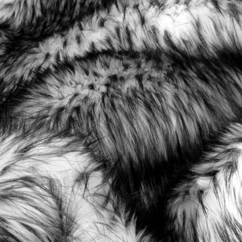 Faux Fur Fabric Husky Fur Grey 60 Inch Fabric by the Yard Pillow Fabric Bedding Fabric Coat Fabric