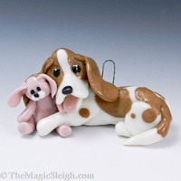 Basset Hound Ornament with Rabbit Toy Porcelain OOAK | TheMagicSleigh - Pets on ArtFire