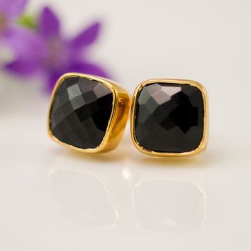 Black Onyx Stud Earrings - Gemstone Studs