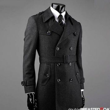 Grey fashion Double-breasted wool coat men 2017 trench jackets mens wool coats overcoats dress winter belt plus size S - 9XL