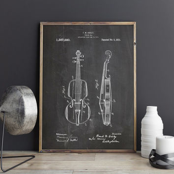 Violin Poster, Violin Blueprint, Violin Printable, Music Room Poster, Violin Wall Decor, Violin Wall Art, Violin Art Gift, INSTANT DOWNLOAD
