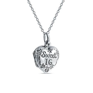 SWEET 16 Birthday Locket Necklace Hold Picture Teen Photo Holder