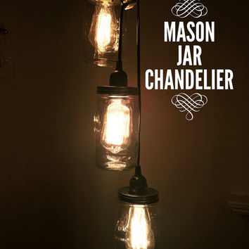 Mason Jar Chandelier, Jar Chandelier, rustic chandelier, chandelier lighting, shabby chic chandelier, mason jar light, mason jar decor