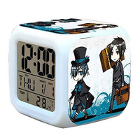R-timer New Anime Black Butler Kuroshitsuji Alarm Clock LED Light Nightlight ...