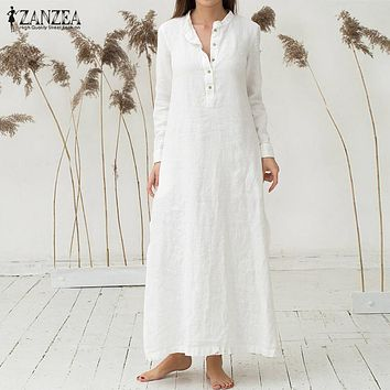 ZANZEA Women Dress 2018 Autumn Casual Loose Cotton Vestidos Retro Stand Collar Long Sleeve Sexy Split Hem Maxi Long Dresses