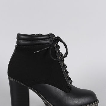 Bamboo Wool Sides Lace Up Lug Sole Ankle Boots