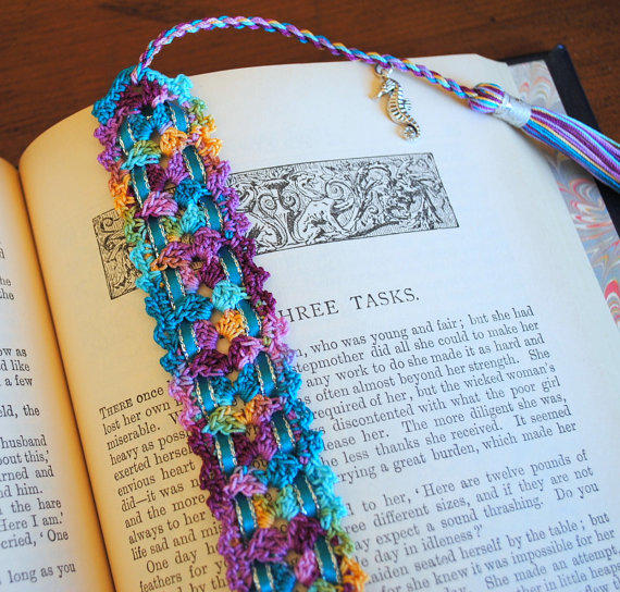 crochet lace bookmark with a tassel and from draiguna on etsy Cabinet Handles Kitchen Hardware glass door handles for kitchen cabinets