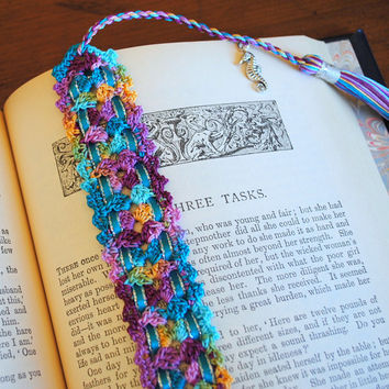Crochet lace bookmark with a tassel and ribbon, Egyptian cotton, multicolor, seahorse charm