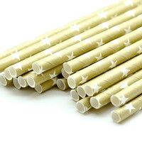 B20 Paper Straw. Stars. Metallic Gold. White.