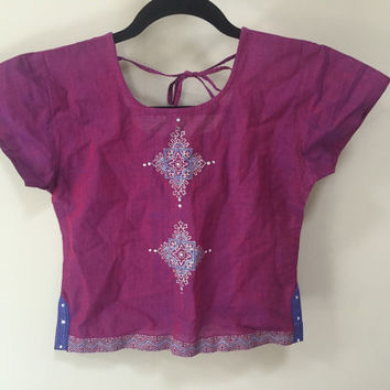 Indian Cropped Blouse, Raw Silk Purple Choli Blouse, Cap Sleeve Cropped Shirt, Boho Ethnic Crop Top, Vintage India Top, Embroidered Sequined
