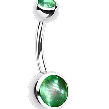 Hologram Sparkle 316L Surgical Steel Belly Button Ring