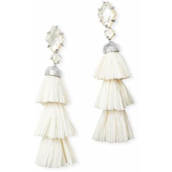 Kendra Scott: Denise Silver Statement Earrings Ivory Mother Of Pearl