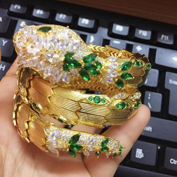 Designer Fashion copper Jewelry Party snake bracelet 3A Cubic Zirconia Gold luxury brand stretch Snake Bangle with green eyes