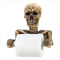 Halloween Toilet Paper Holder Skeleton Grinning Skull