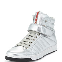 Quilted Leather High-Top Sneaker, Silver - Prada