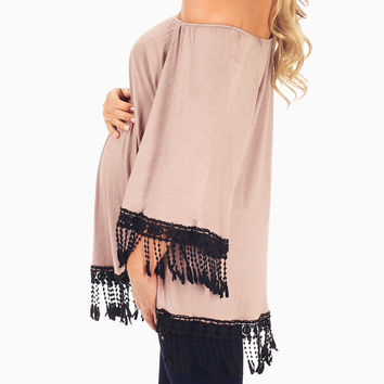 Mocha Crochet Fringe Maternity Top